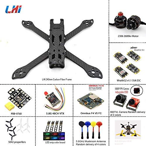 LHI 240mm FPV Quadcopter Frame Kit ARF 2306 2600KV Motor Blheli_s 35A 32bit ESC F3 Omnibus Flight Controller ARF Kit with Camera
