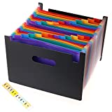 BTSKY 24 Pockets Expanding File Folder-- Poly Accordian File Folders with Tabs, A4 Letter Size File Organizer Document Holder, Black