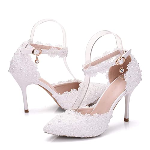 69136ce249557 Dress First Women's High Heel Pumps Closed Toe Sandals Strap Stiletto  Bridal Wedding Shoes,3.74