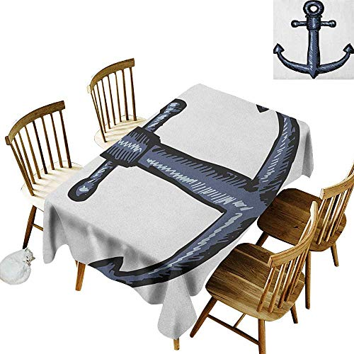 kangkaishi 3D Printed Long Tablecloth Desktop Protection pad Contemporary Image of an Anchor Safety Artistic Design Security Nautical Artwork W14 x L108 Inch Grey White ()