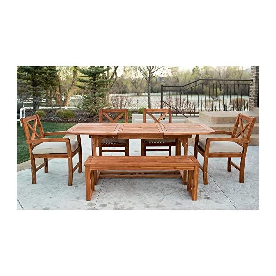 WE Furniture 6 Piece X-Back Acacia Patio Dining Set with Cushions - Resistant to a variety of outdoor elements Natural grain finish and shine Plush, polyester cushions - patio-furniture, dining-sets-patio-funiture, patio - 51HI7wDF0gL. SS570  -