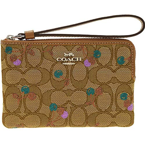 - COACH CORNER ZIP WRISTLET IN SIGNATURE JACQUARD WITH CHERRY PRINT 31577