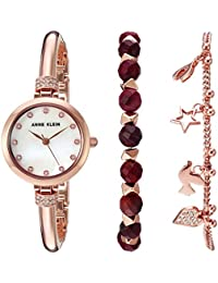 Women's AK/2840RJAS Swarovski Crystal Accented Rose Gold-Tone Bangle Watch and Red Jasper Beaded Bracelet Set