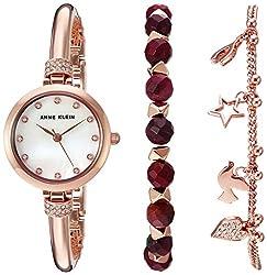Anne Klein Women's AK/2840RJAS Swarovski Crystal Accented Rose Gold-Tone Bangle Watch and Red Jasper Beaded Bracelet Set