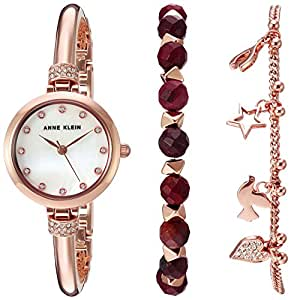 Anne Klein Women's AK/2840RJAS Swarovski Crystal Accented Rose Gold-Tone Bangle Watch and Red Jasper Beaded Bracelet Set