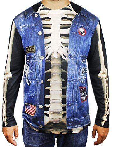 Men's Rebel Skeleton Biker from Hell Long Sleeve Costume Shirt - Adult Size Large (Halloween Costumes Denim Vest)