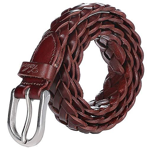 Falari Women's Leather Braided Belt Stainless Steel Buckle 6007 - Reddish Brown-XS