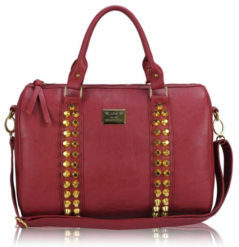 Leather Quality Nude On Bags Shoulder Strap 1 Faux High Studded Handbag Sale Ladies Red Design With In Women Sale XqzqfPw