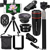 XCSOURCE 10 in 1 Mini Lens Kit 8x Telephoto Lens + Fish Eye Lens + Wide Angle + Macro Lens Selfie Stick Monopod + Bluetooth Remote Control + Mini Tripod For iPhone 4S 5C 5S 5SE 6 6S Plus Samsung Galaxy S3 S4 S5 S7 S6 Edge Note 3 4 5 HTC LG XC311