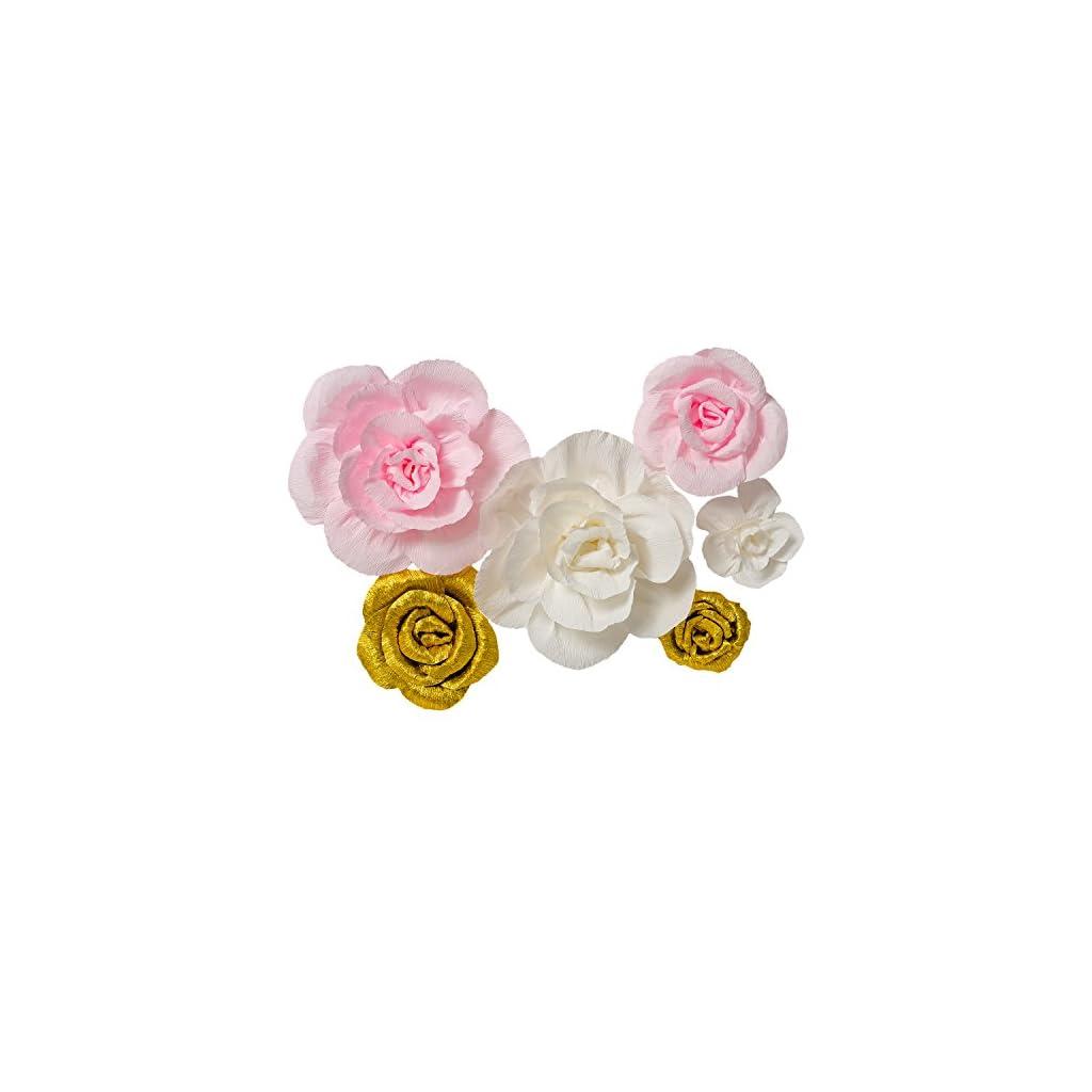 Crepe-Paper-Flowers-Set-of-6Handcrafted-FlowersFor-Gold-PartyBaby-Nursery-Home-DecorBaby-ShowersBirthdayWeddingArchway-DecorShiny-GoldWhitePink