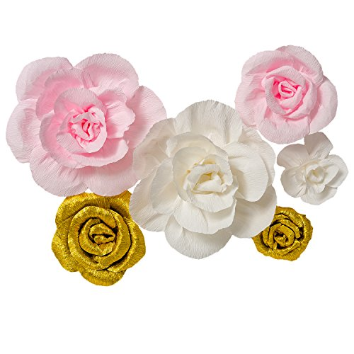 Crepe Paper Flowers Set of 6,Handcrafted Flowers,For Gold Party,Baby Nursery Home Decor,Baby Showers,Birthday,Weddings,Valentine's Day,Shiny Gold+White+Pink
