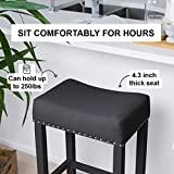 "Nathan James Hylie Nailhead Wood Pub-Height Kitchen Counter Bar Stool 29"", Black"