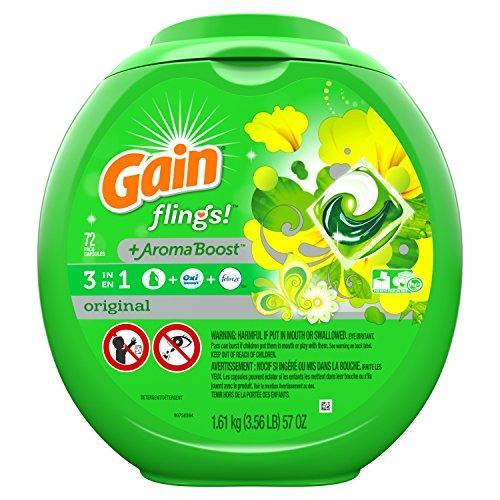 Gain Flings Laundry Detergent Pacs, Original Scent, 72 count,57 ()
