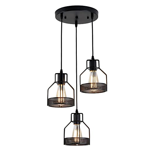 Suspension Luminaire Industrielle, Konisk® Lustre Plafonnier Vintage Lampe de Culot E27 en Métal pour Cuisine Salon Salle à Manger Chambre Restaurant