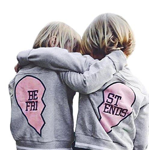 XARAZA Toddler Baby Boys Girls Fleece Jacket Outerwear Long Sleeve Best Friend Letter Print In Heart (ST Ends, 4-5T) (Letter Jackets For Kids)