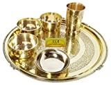 SHIV SHAKTI ARTS Brass Thali Set 6 Pcs 3 Brass Bowls1 Glass1 Big Plate 1 Rice Plate Restaurant Ware Home Hotel
