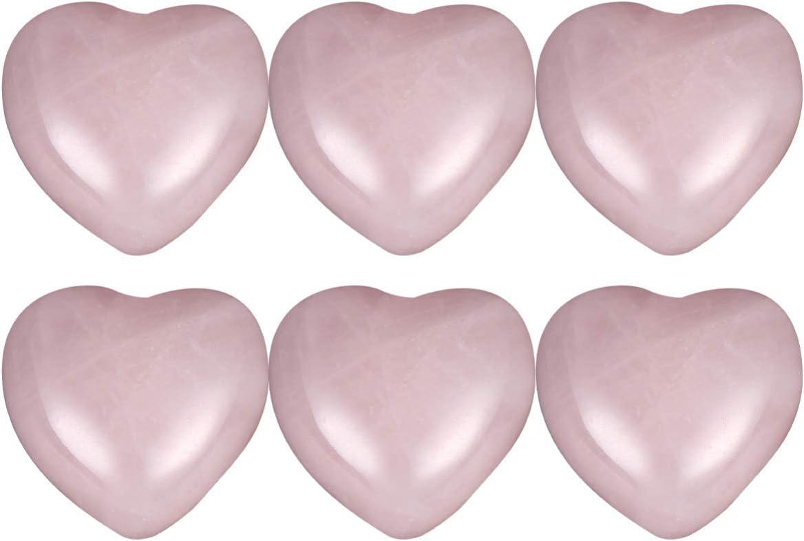 BESPORTBLE 6 Unids Cuarzo Rosa Cuentas de Corazón Cristal Curativo Cuarzo Natural Corazón Amor Piedras Palma Pulgar Piedras Preciosas Chakra Reiki Equilibrio