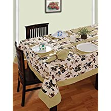 Colorful Multicolor Cotton Spring Floral Tablecloths for Square Tables 60 x 60, Light Beige Border