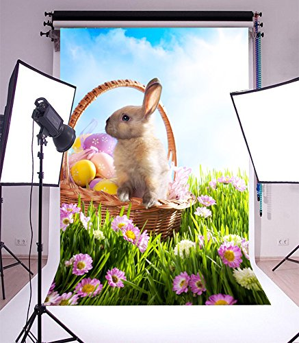Laeacco 3x5ft Vinyl Backdrop Easter Bunny Photography Background Easter Basket Decorated Eggs Grass Blooming Wild Florets Field Cute Rabbit Scene Nature Landscape Children Portrait Photo Studio Prop