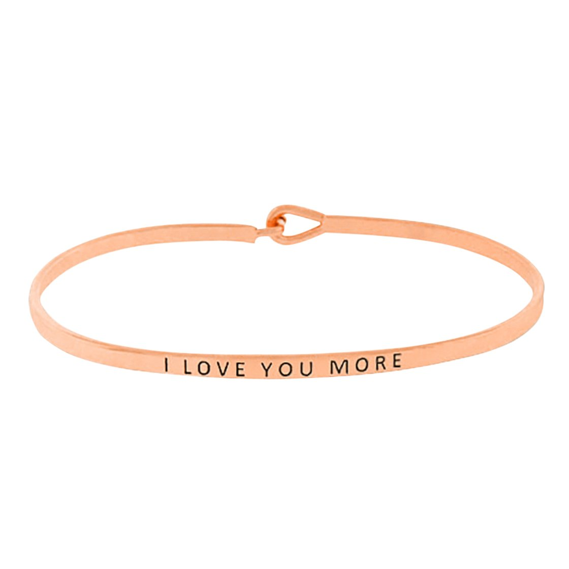 Rosemarie Collections Womens Thin Hook Bangle Bracelet I Love You More