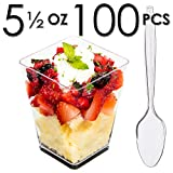 DLux Mini Dessert Cups, Appetizer Bowls & Mini Spoons with Recipe e-Book [Clear Plastic, 5 oz, Square Large, 100 Count] Small Catering Supplies, Disposable Parfait Tasting Shooters Tumblers