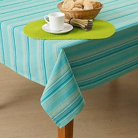 Gentil Stanza Stripe Turquoise Blue Green Tablecloth And Napkin Collection ( TABLECLOTH 60u0026quot; ...