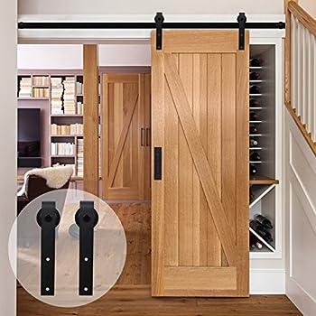 Superbe CCJH American Country Flat Style Steel Sliding Barn Door Hardware Interior  For Single Door Black(4FT)