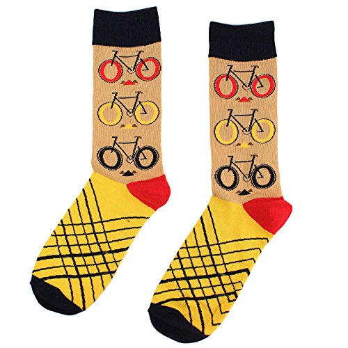 Men's Everday Novelty Bicycles Cycling Trouser Dressy Casual Comfy Socks Beige by SK Hat shop (Image #1)