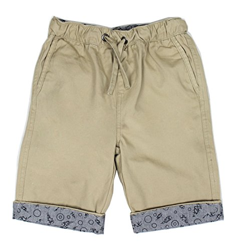 Bienzoe Boy's Cotton Twill Elastic Waist Shorts KHK Size 10 by Bienzoe