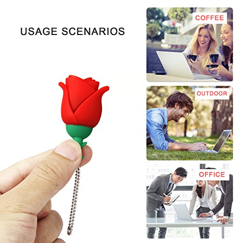 Lovely Key Chain New 32GB Cartoon Rose USB Flash Drive, USB 2.0 Flash Driver Data Storage Device Memory Rod Gift U Disk by MD001 (Image #4)'