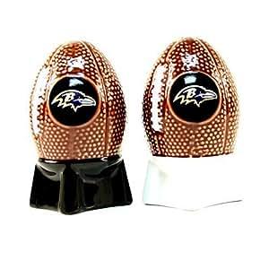NFL Licensed Sculpted Football Shaped Salt and Pepper Shakers (Baltimore Ravens)