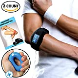 Larosa Tennis Elbow Brace - Tennis & Golfer's Elbow Tendonitis Pain Relief With Compression Pad Support - 2 Count With Shorter & Longer Adjustable Straps - Silicon Hand Gripper Free Gift