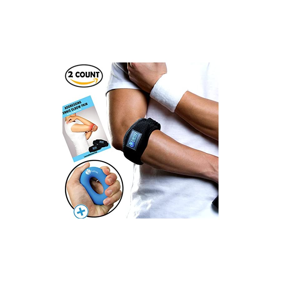 Larosa Tennis Elbow Brace Tennis & Golfer's Elbow Tendonitis Pain Relief With Compression Pad Support 2 Count With Shorter & Longer Adjustable Straps Silicon Hand Gripper Free Gift