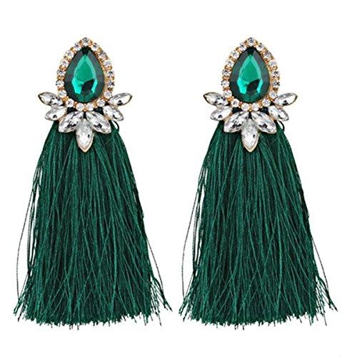 Exaggerated Bohemian Tassel Earrings Diamonds Flowers Water Droplets Fringed Tassel Earrings for Women and Girls Earrings Set(Green)]()