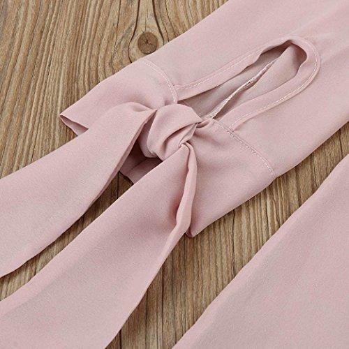 Zolimx Las Mujeres de Gasa de Poliéster de Manga Larga Cuello en V Tops Correas Decoración de la Camiseta Ladies Blusas Rosa