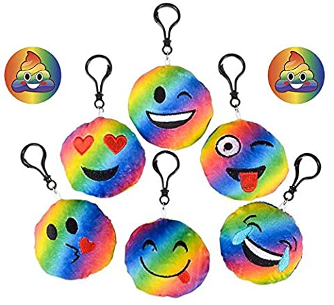 Rainbow Emoji Backpack Keychains Set of 12, & 2 Rainbow Poop Pins, Cute, Soft Plush Pillow 3 inch Smile, Tongue out, Kissy, Wink, Heart Eyes & Silly Face, Party Supplies, Favors, - Mini Bubble Bucket