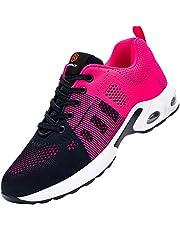 DYKHMILY Veiligheidsschoenen voor dames, luchtkussen, werkschoenen met stalen neus, licht, ademend, demping, sportieve beschermende schoenen