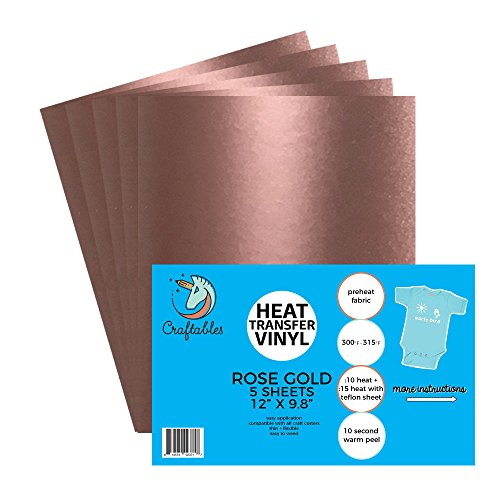 (5) 12'' x 9.8'' Sheets of Craftables Rose Gold Heat Transfer Vinyl HTV - Easy to Weed Tshirt Iron on Vinyl for Silhouette Cameo, Cricut, all Craft Cutters. Ships Flat, Guaranteed Size by Craftables