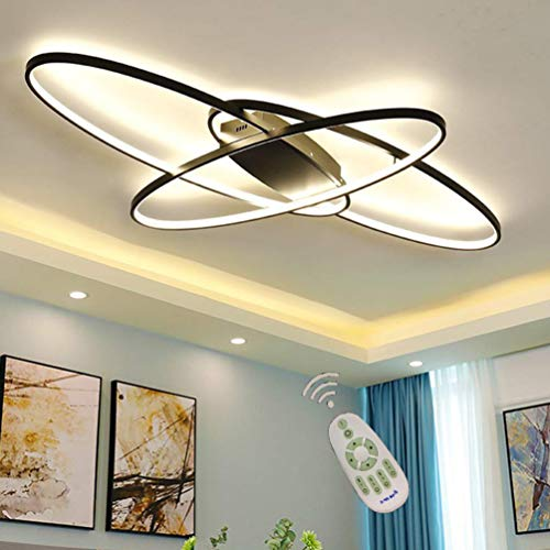 LED Modern Ceiling Light Living Room Lamp Mable with Remote Control Dimmable Max 80W, Oval Design 3-Ring Metal Acrylic Chandelier for Bedroom Dining Room Kitche (Theres A Problem With This Art Club)