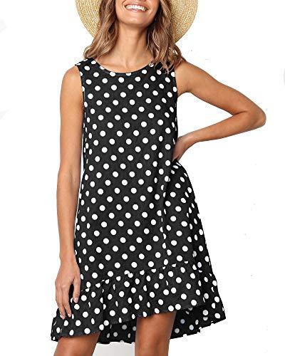 M MEIION Women's Chiffon Summer Sleeveless Polka Dot Ruffle Hem Swing Dress with Pockets Black ()