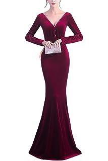 KAXIDY Women Formal Dresses Bridesmaid Dresses Long Prom Gowns Velvet Long Evening Dress