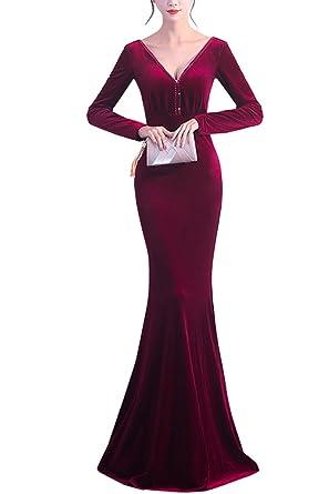 KAXIDY Women Formal Dresses Bridesmaid Dresses Long Prom Gowns Velvet Long Evening Dress (Wine-