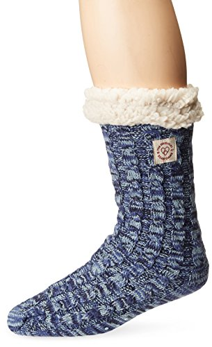 Dearfoams Women's Tri-Marled Cable Blizzard Sock RD2005W Slipper, Peacoat, All Medium US (Marled Cable)