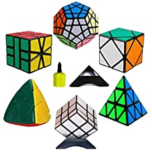 6 Pack Rubik's Cube Set(Triangle Magic Cube + Silver Mirror Speed Cube + Mastermorphix Rubiks Cube + SQ-1 + Megaminx + Skewb)Cube Puzzle Brain Teasers Game for Teens Kids and Adults - 3x3 Black with Stands