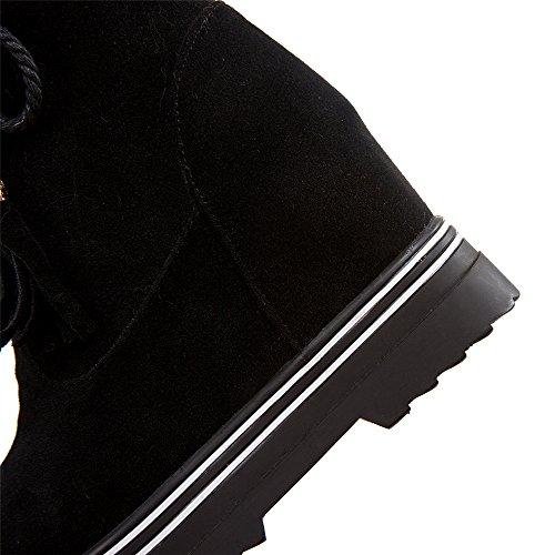 Tacco A Spillo Da Donna Con Tacco In Nabuk E Plateau Tacco Medio In Pizzo Con Pelliccia Nera
