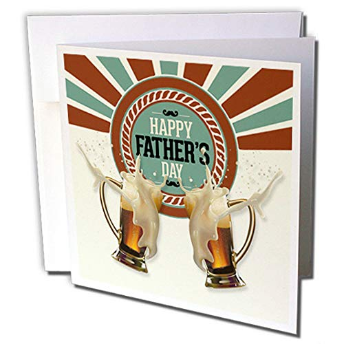 3dRose Fathers Day Brown Green and Cream Foaming Beer Mugs in A Toast - Greeting Cards, 6