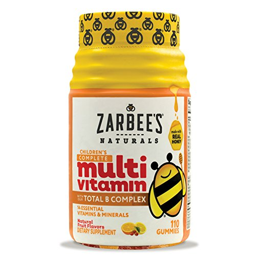 Zarbee's Naturals Toddler Complete Multivitamin Gummies, Natural Fruit Flavors, With Essential Vitamins for Children Ages 2-4, 110 Gummies (1 Bottle)
