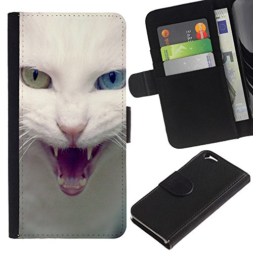 OMEGA Case / Apple Iphone 6 4.7 / white cat blue green eye angry / Cuir PU Portefeuille Coverture Shell Armure Coque Coq Cas Etui Housse Case Cover Wallet Credit Card