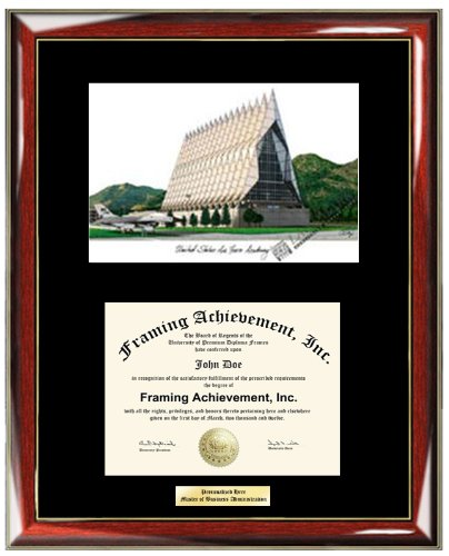 Air Force Academy Lithograph (US Air Force Academy USAF Lithograph Diploma Frame - Personalized Gold or Silver Engraved Plate University Diploma Frame - Premium Wood Glossy Prestige Mahogany with Gold Accents - Single Black Mat )