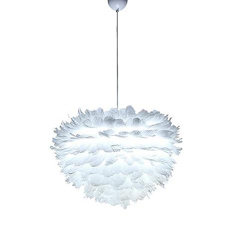 Pantalla de lámpara de Techo AsteriskNew, con diseño de Plumas, Color Blanco, para decoración del hogar/Dormitorio/Oficina